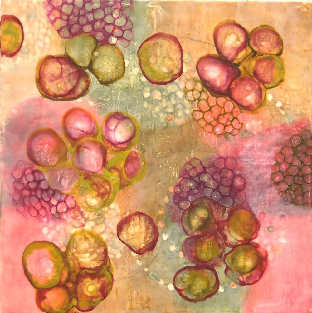 Hartung,  Bio Flow 5 , Encaustic, pastel, pigment stick, 30x30