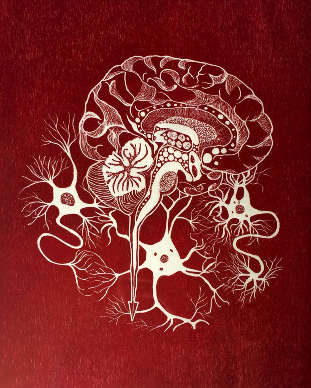 Penil Cobo,  Brain Matter 1 , Woodcut print