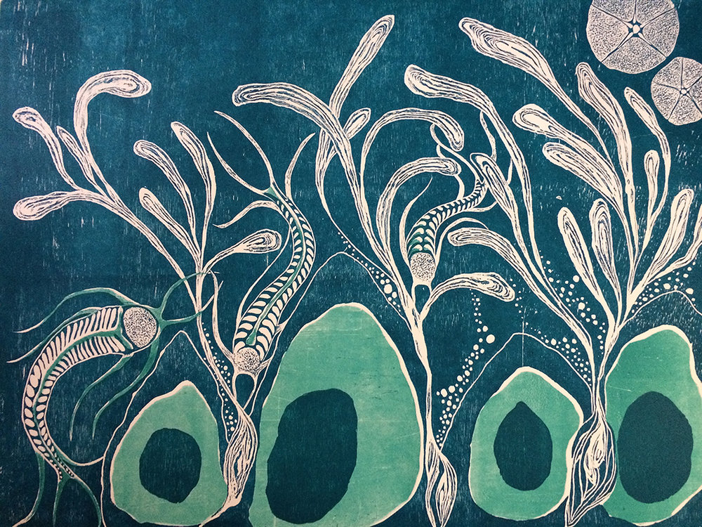 Penil Cobo,  Subconscious Landscapes 3 , Woodcut print, 20x27