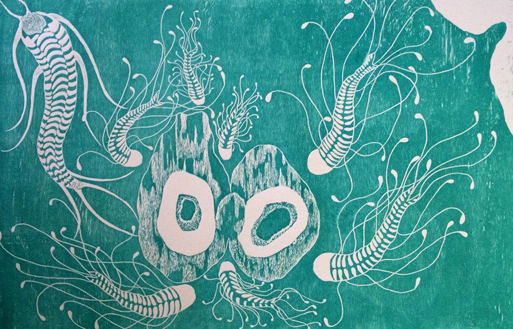 Penil Cobo,  Subconscious Landscapes 2 , Woodcut print, 16x24