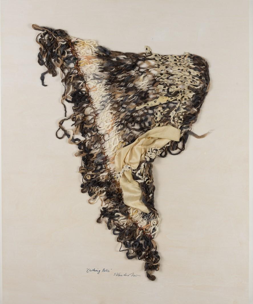 """Clothing Relic I -  fiber work by Sylvia Vander Sluis in """"Fiberlicious"""" exhibit"""