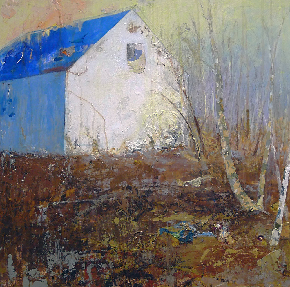 Blue Roof II ,  painting by Brenda Cirioni at Three Stones Gallery