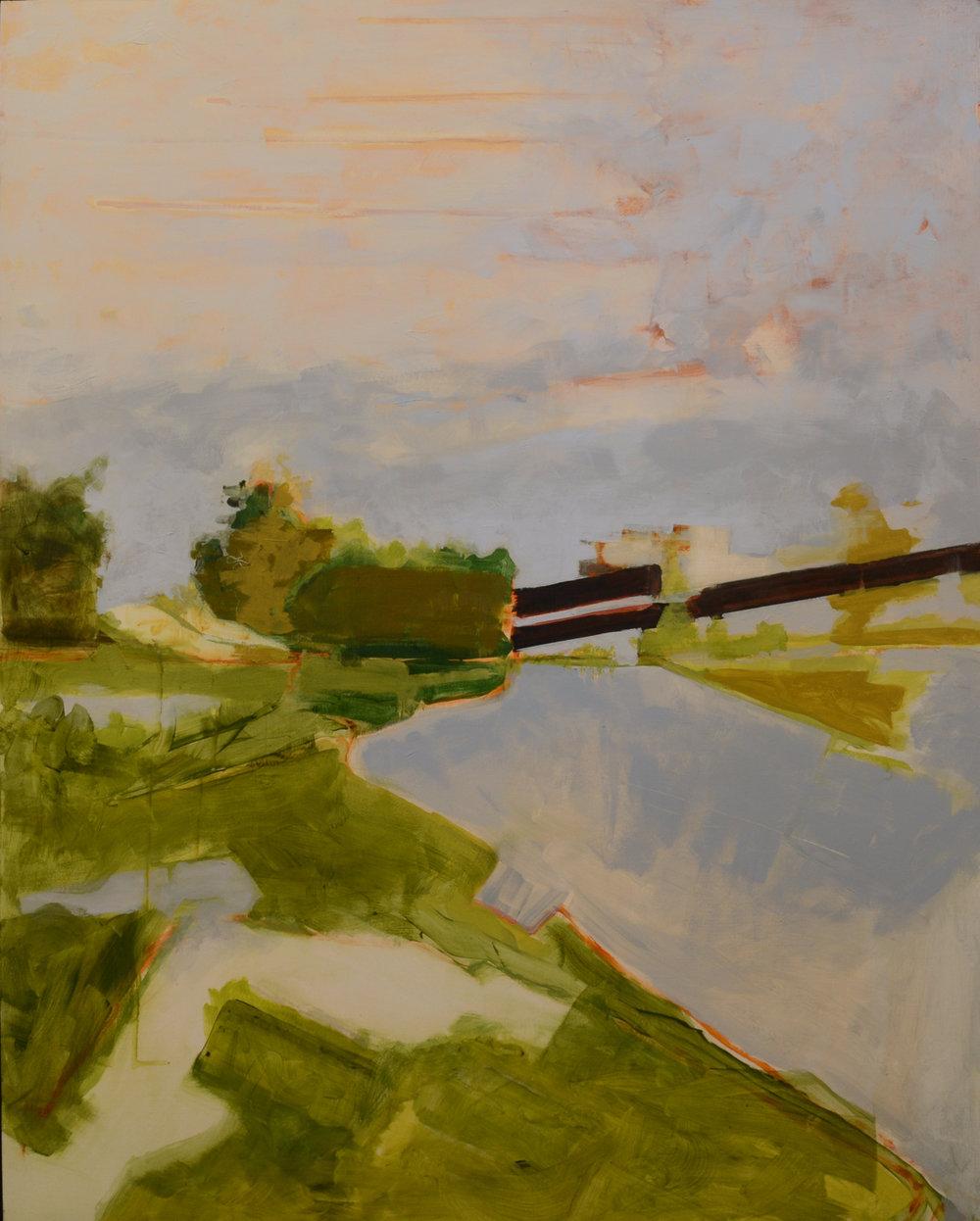 Packer Bog II, acrylic on panel, 36 x 29 inches