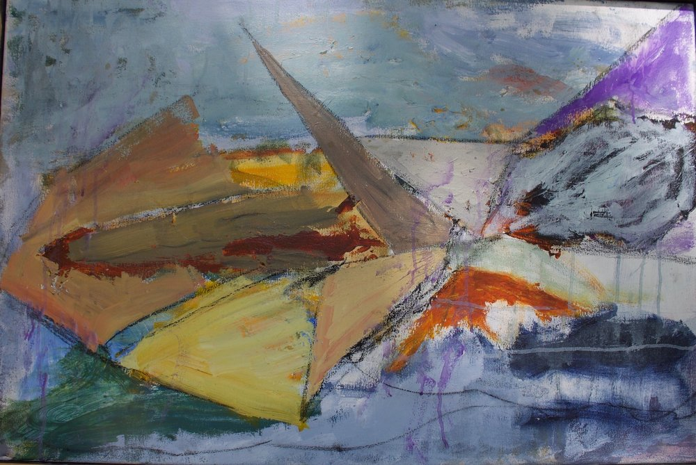 Lampedusa Shipwreck , acrylic on canvas, 24 x 36 inches