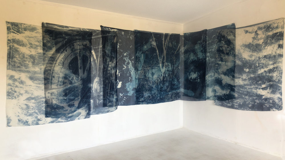 Marie Craig,  Natural Consequences Installation,  cyanotype on silk organza