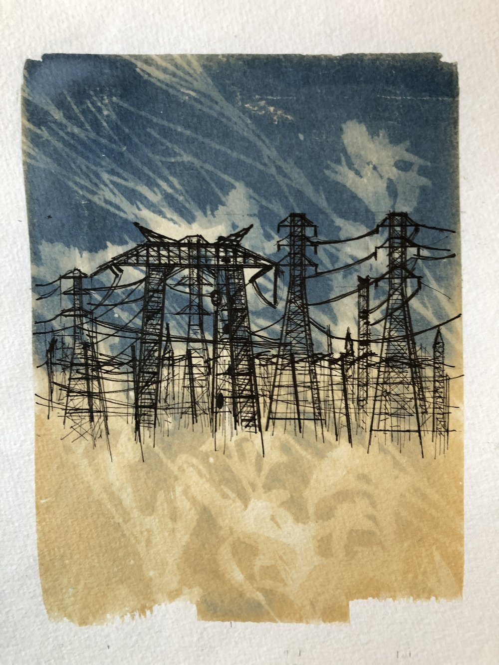 Marie Craig,  Entanglement 7 (high-tension wires),  pen and ink on toned cyanotype photograph, 6 x 8 inches.