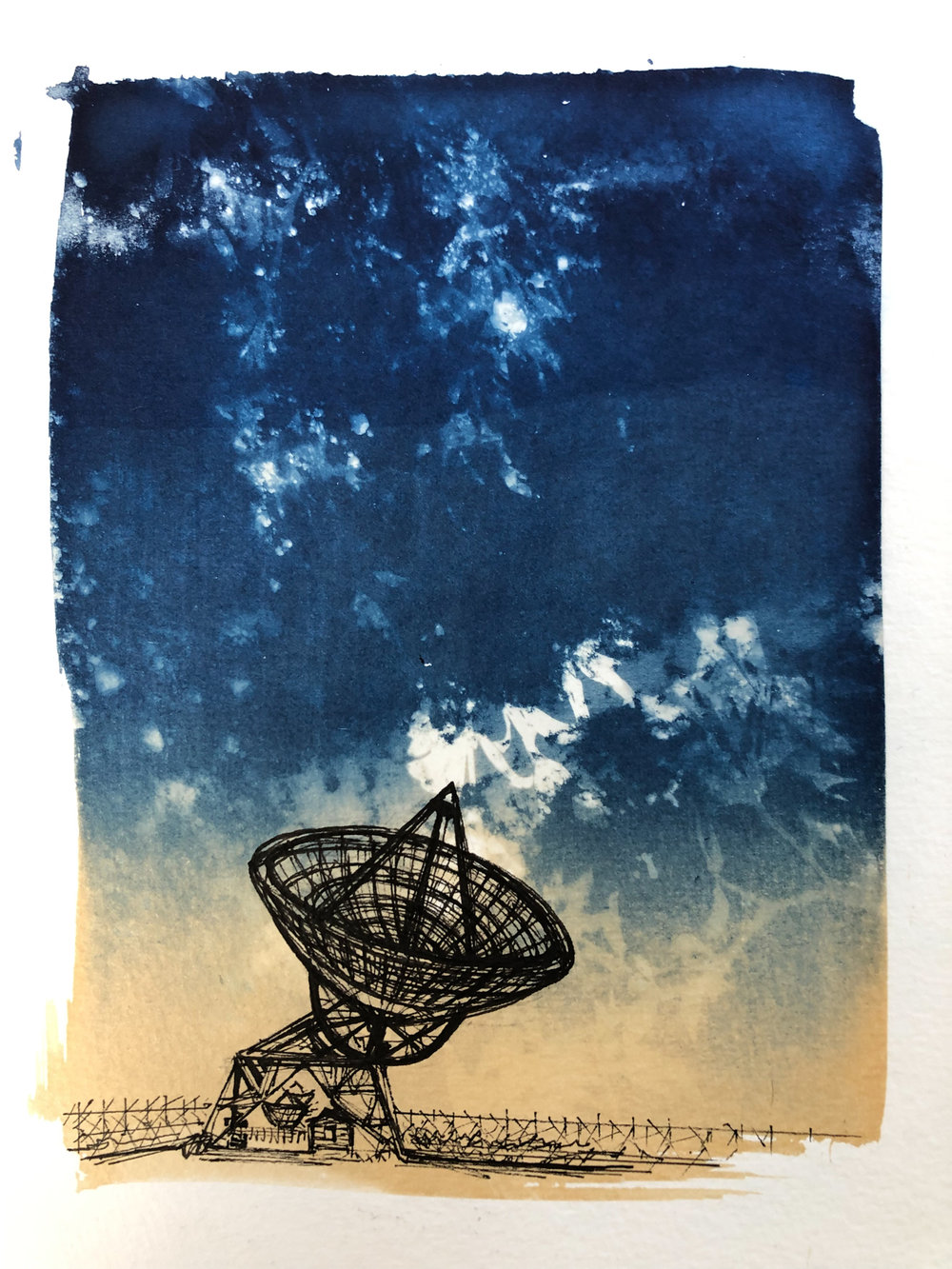 Marie Craig,  Entanglement 2 (radiotelescope),  pen and ink on toned cyanotype photograph, 6 x 8 inches.