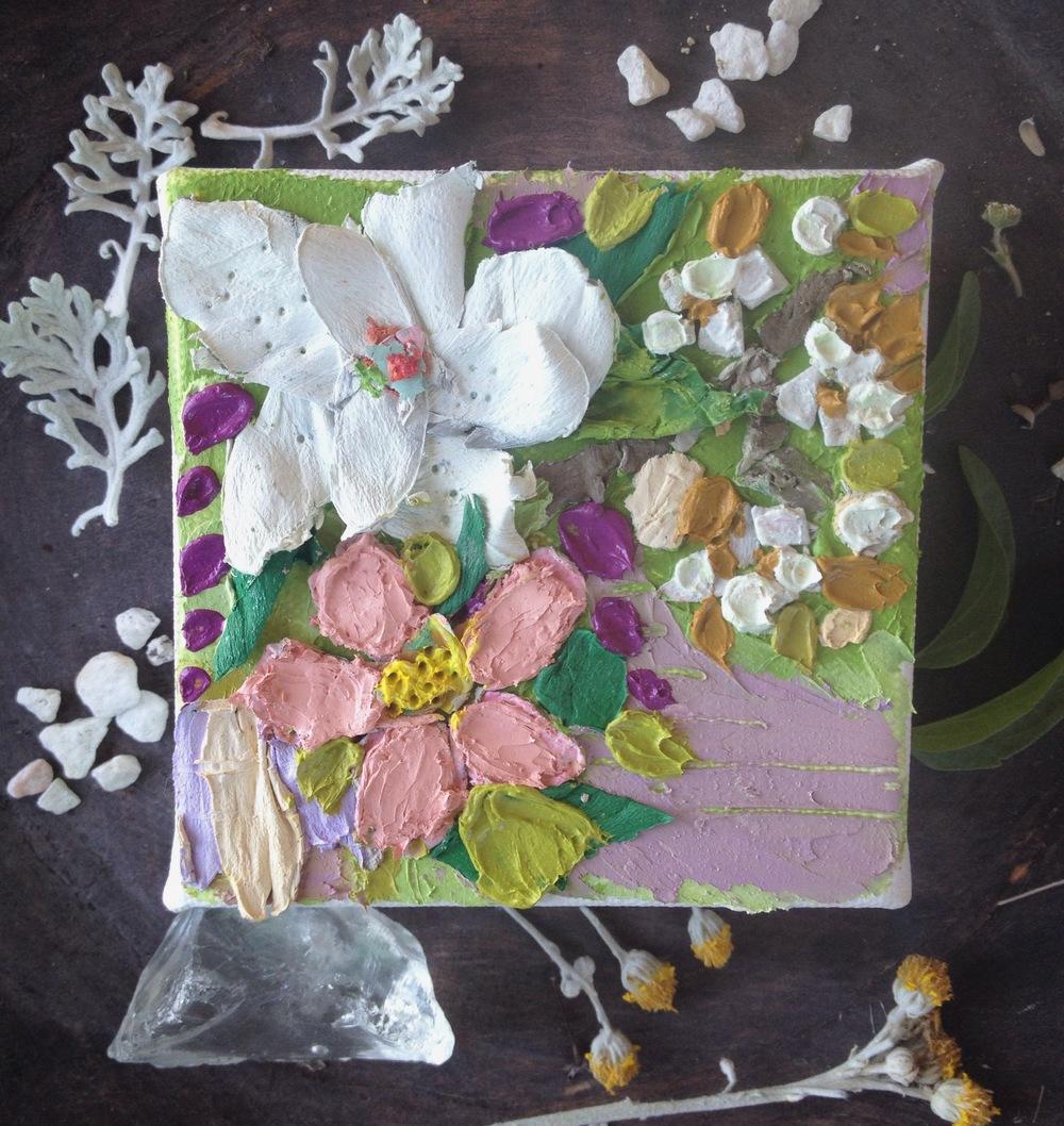 Magnolia, Apple blossom and Cotton 4x4 oil on canvas