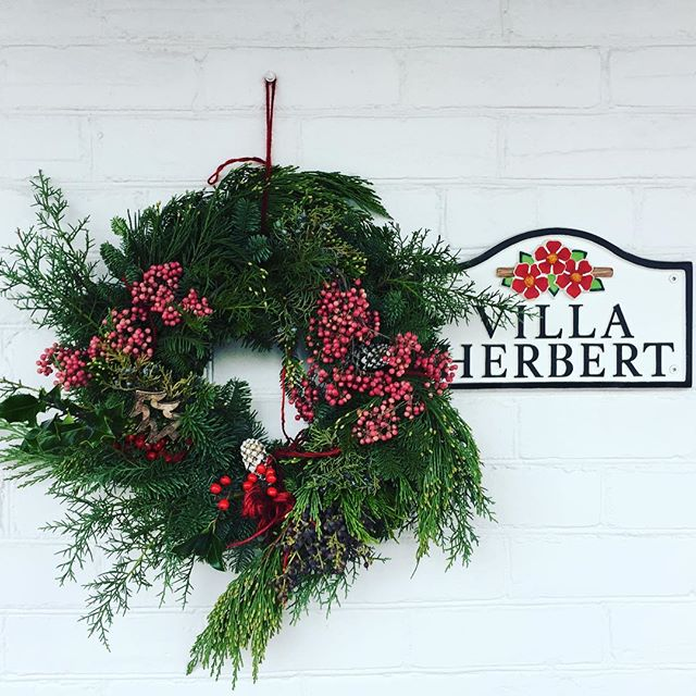 The annual Christmas wreath, pretty as always. Thanks @belmont_flowers_ !