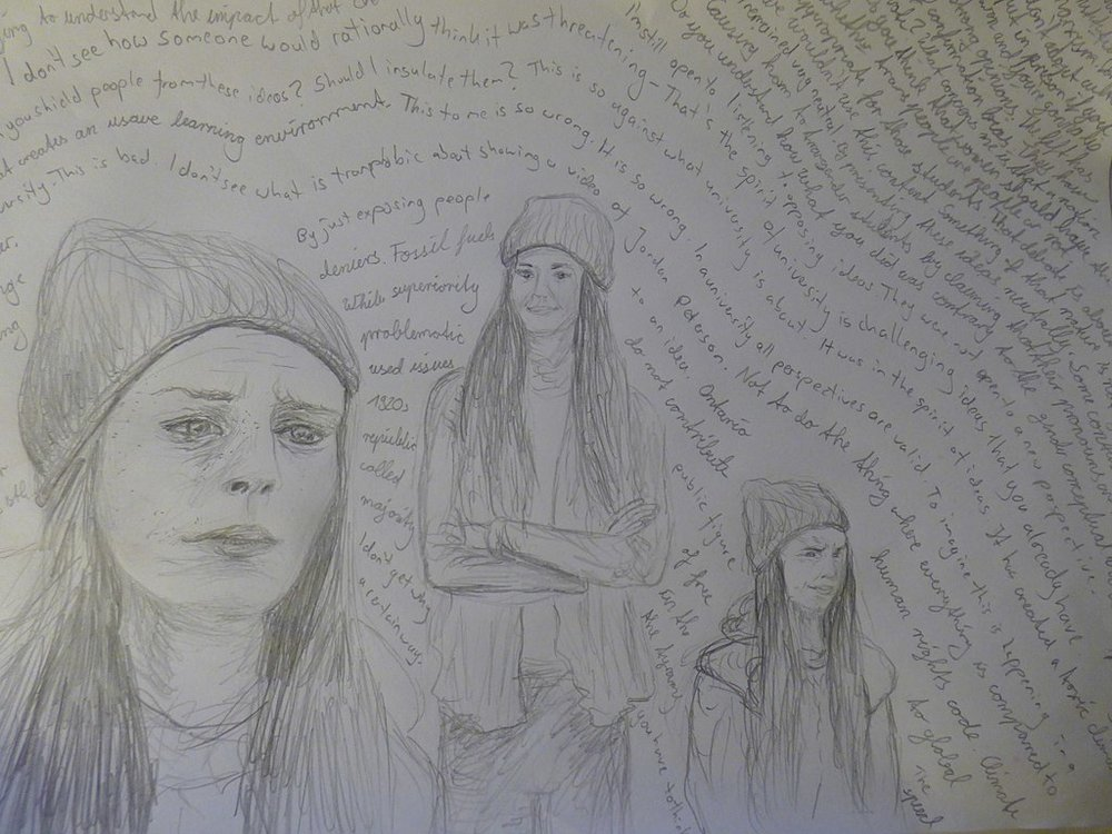 Drawing of Lindsay Shepherd by Der Spatz. Licensed under a  Creative Commons Attribution 4.0 International License .