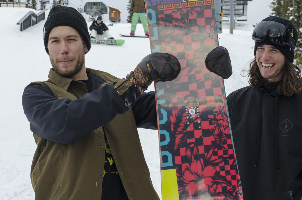 Alex gave out this Ride Snowboard at Keystone last weekend. Nic Suave thought it was pretty funny.