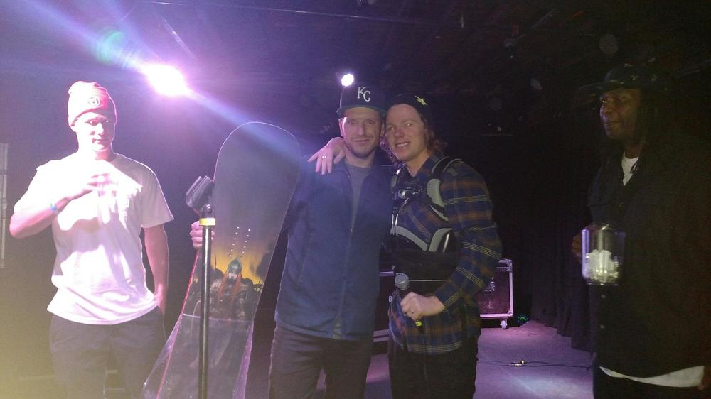 This lucky dude walked away with a brand new snowboard a picture with Torstein.