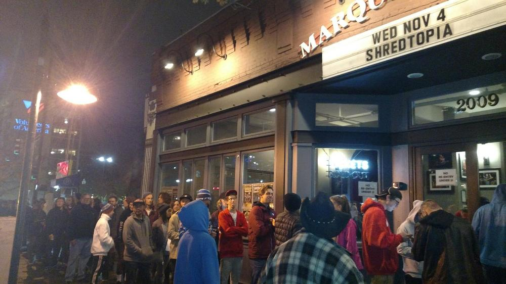 The line was literally wrapped around the corner, but that's cool because you could grab a slice of pizza while you waited.