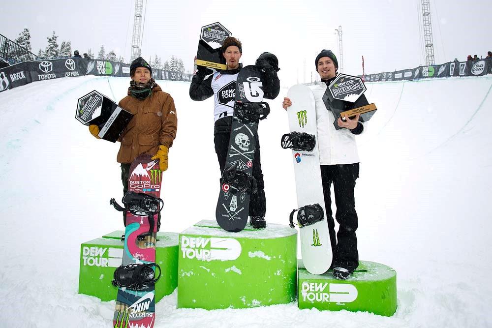 Men's Snowboard Superpipe - Dew Tour Breckenridge Ayumu Hirano, Shaun White and IouriPodladtchikov