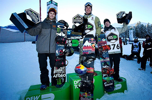Slopestyle podium (L to R): Staale Sandbech, Mark McMorris, Darcy Sharpe.