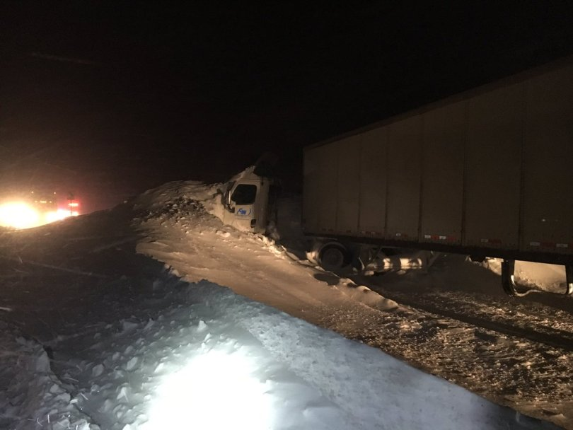 An Avalanche buries a semi on I70 near Vail | P: Colorado State Patrol - Eagle