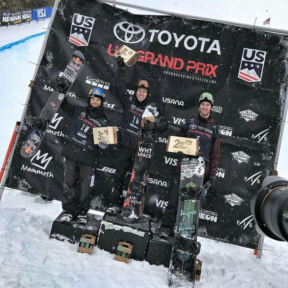 Men's Halfpipe Podium L to R: Louie Vito, Shaun White, Ryan Wachendorfer | P: U.S. Snowboarding