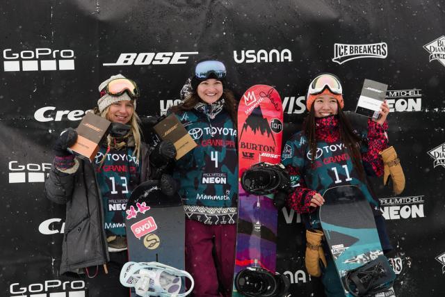 Women's Halfpipe Podium L to R: Hannah Teter, Kelly Clark, Haruna Matsumoto | P: U.S. Snowboarding