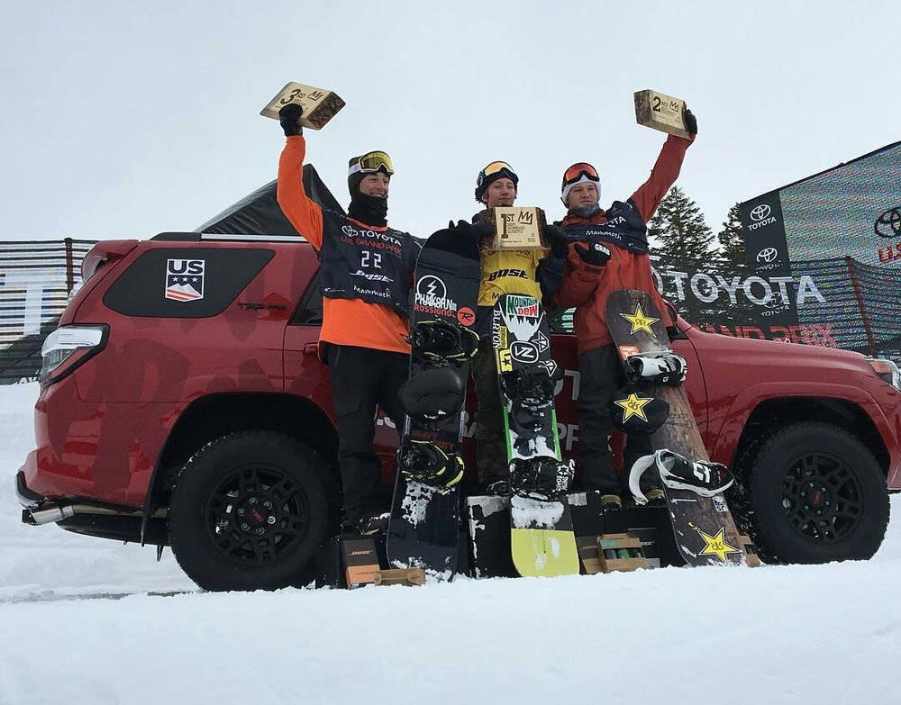Men's Slopestyle Podium L to R: Dylan Thomas, Red Gerard, Kyle Mack | P: U.S. Snowboarding
