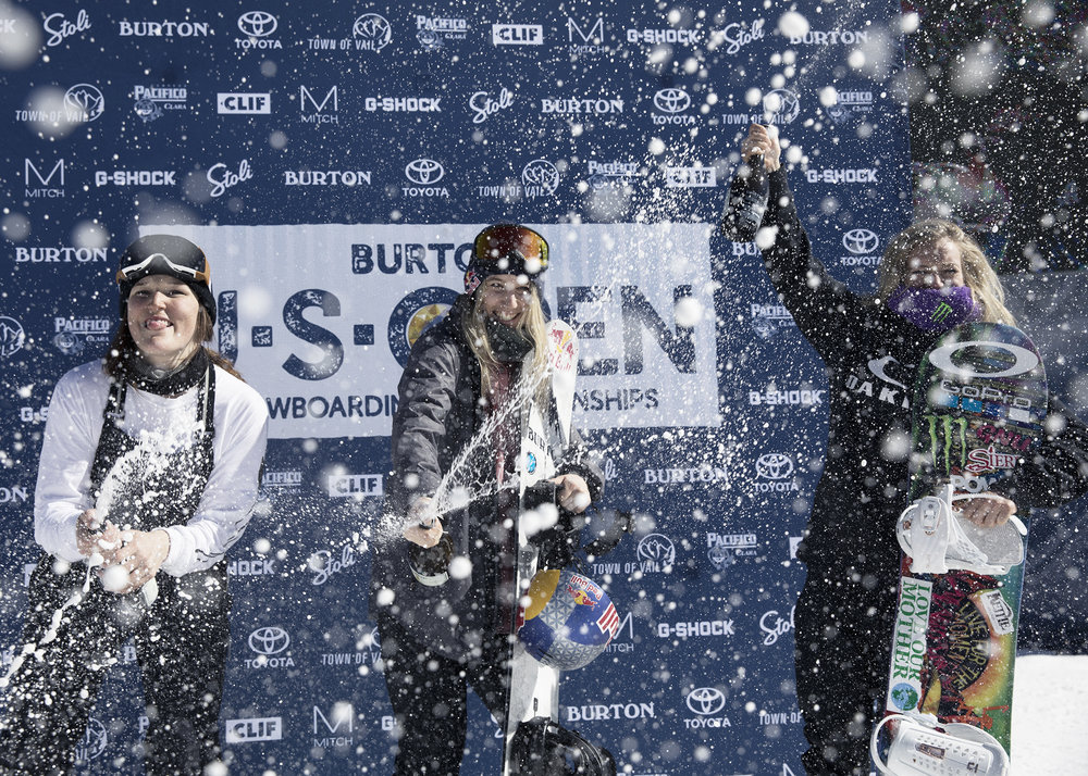Women's Slope Podium  |  L to R: Spencer O'Brien, Anna Gasser, Jamie Anderson