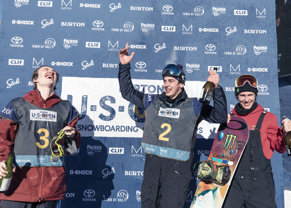 Men's Slope Final podium  |  L to R: Mikey Ciccarelli, Mark McMorris, Sven Thorgren