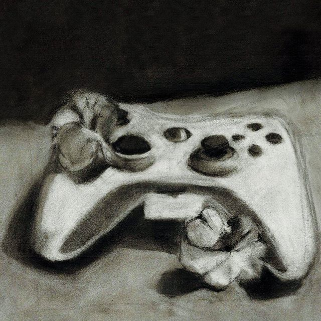 Found a (very) old sketchbook from one of my drawing classes. I think it was done around this time of year... 10ish years ago. Memmmmories.  #charcoaldrawing #sketch #olddrawing #xboxcontroller #wistfulwednesday