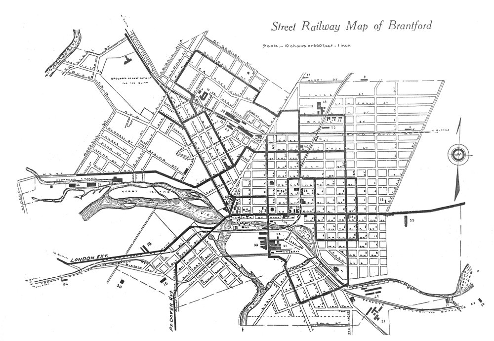 Map showing the Street Railway System. The system reached 51 of 57 factories in the city.