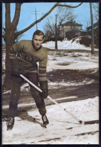 Brantford Lions Jr B hockey player, my father, John Jackowetz, 1939. Photo was taken on Usher St. The Broad St hill is in the background.