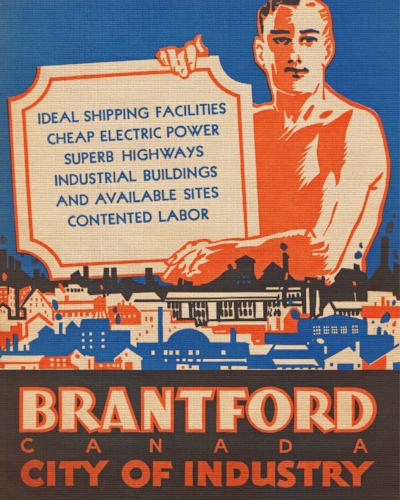 Cover of a brochure developed by the Brantford Industrial Commission designed to attract new industries to Brantford