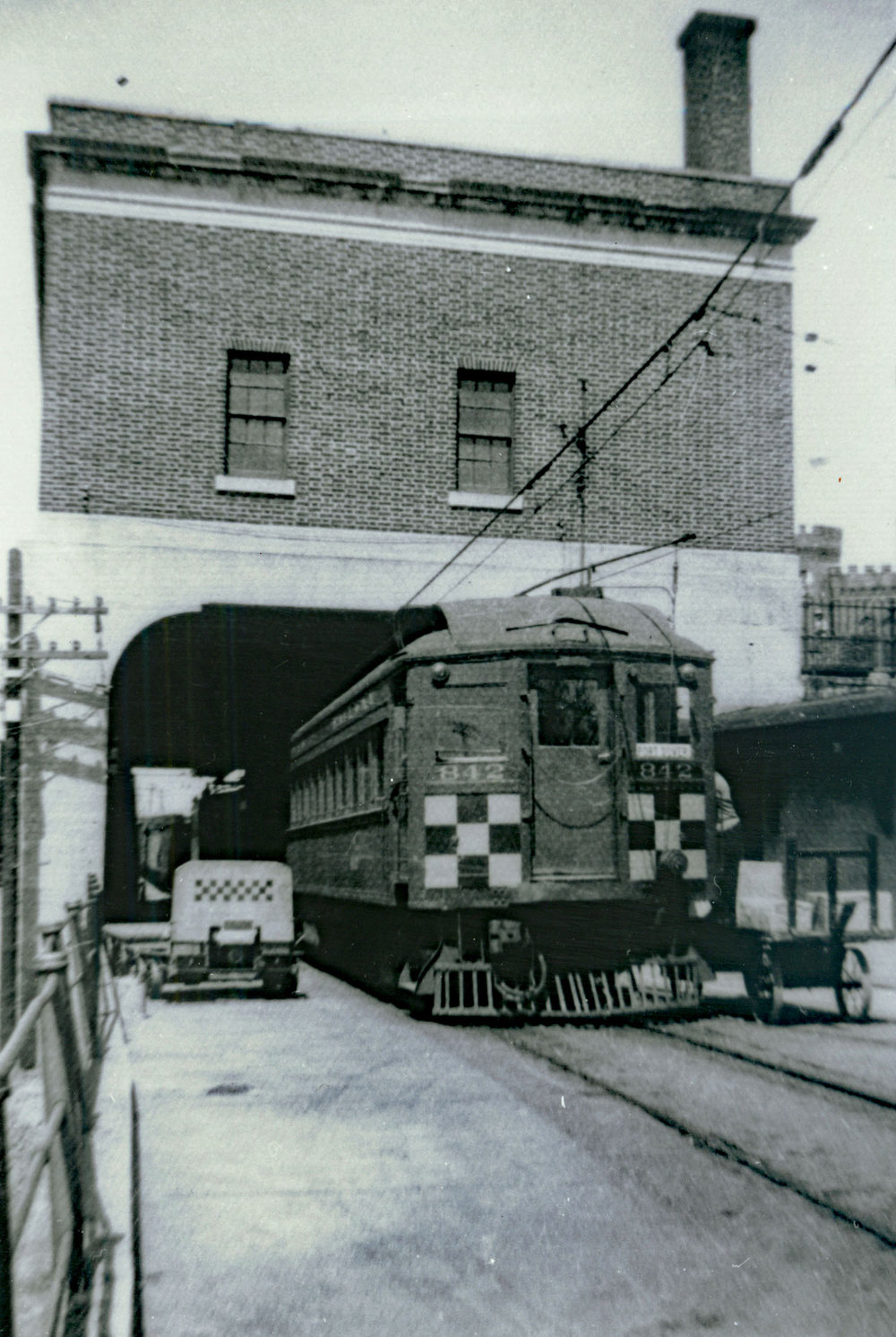 Train departing the  Lake Erie & Northern station  bound for Port Dover. Passenger service ended on the LE & N on Saturday 23-April-1955.  Image courtesy of the Brant Historical Society