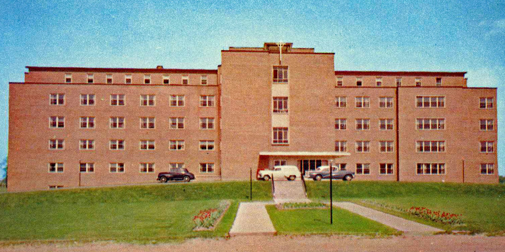 St. Joseph's Hospital in 1955 on what was then Park Road North. The building has been repurposed to St. Joseph's Lifecare, a long-term care facility. St Joe's closed their maternity ward in June-1972. The Ministry of Health closed the hospital 2001.  Image courtesy of the Brant Historical Society