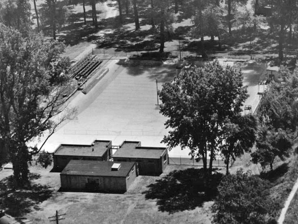 Earl Haig Pool, ready for the summer season 1955. The pool opened 7-July-1923 in Swimming Pool Park. The park was renamed Earl Haig Park in 1929 at the request of the Canadian Legion. The pool was closed in 1930 due to a spinal meningitis outbreak and remained closed until 1942 because of the difficult financial times the City was experiencing. The pool was overhauled in 1956. In 1982 the site was rebuilt and renamed Waterfront Park.  Image courtesy of the Brant Historical Society