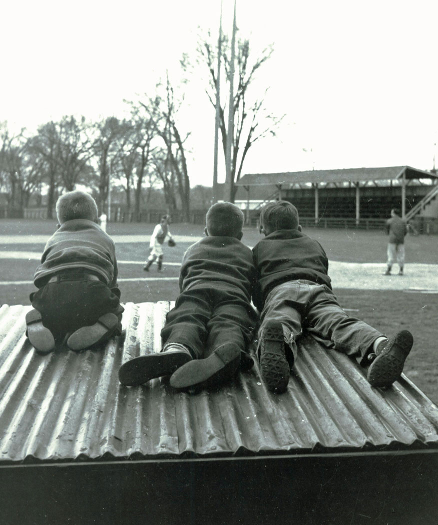 Watching the Brantford Red Sox practice at Cockshutt Park in the spring of 1954.  Image courtesy of the Brant Historical Society
