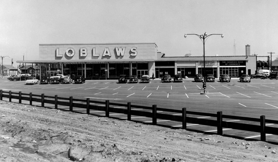 Loblaws was located in the first suburban plaza built in the City in 1953, on King George Rd and St Paul Ave.  Image courtesy of the Brant Historical Society