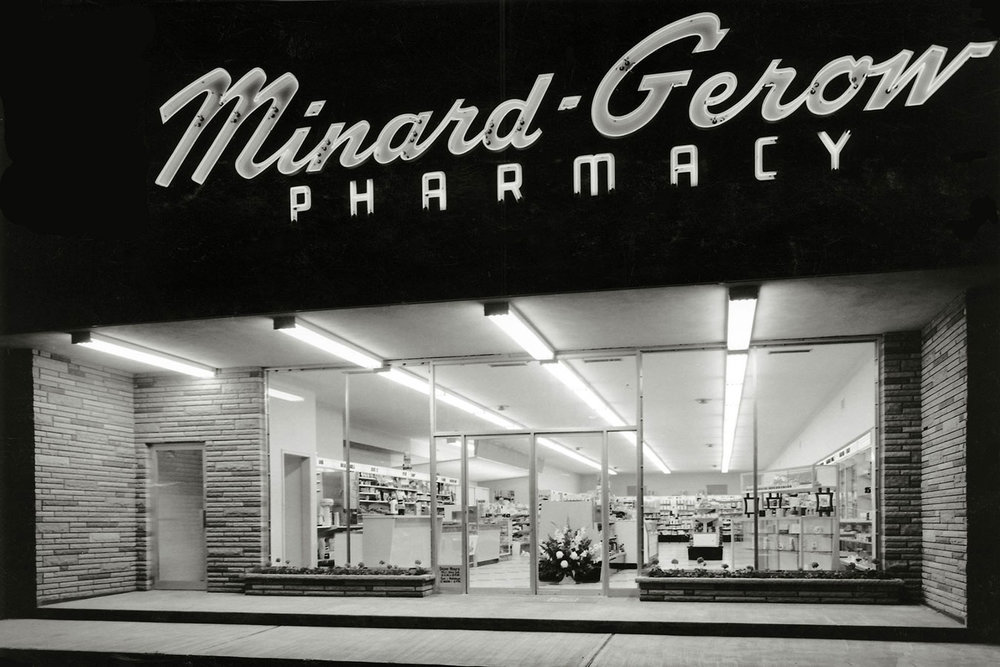 Minard-Gerow Pharmacy, the City's first modern drug store, opened in 1956 on St Paul Ave at Dublin St kitty corner from the new Loblaws.  Image courtesy of Sheila Minard
