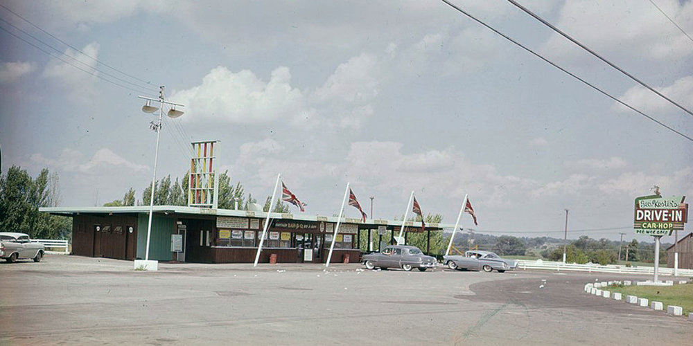 Koster's Drive-In was one of the early drive-ins established just outside the city. Koster's was located next to what is now the Crossroads Antique Market, formerly the Cainsville Mall, 1146 Colborne St E.  Image courtesy of the Brant Historical Society