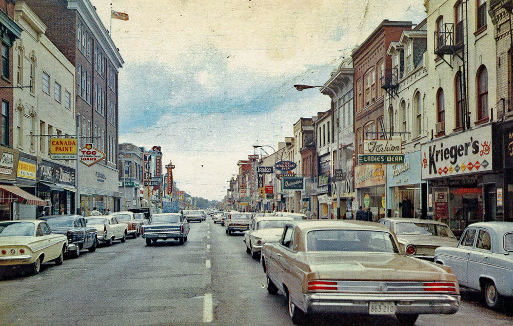Downtown Colborne Street, 1963  Image courtesy of the Brant Historical Society