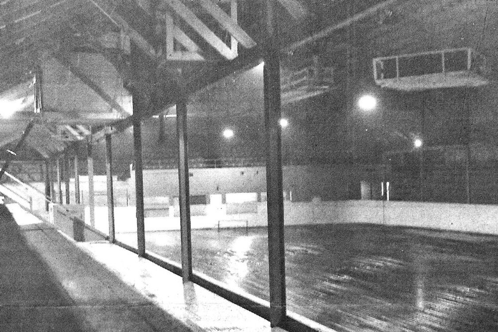 Arctic Arena interior from 1961. The arena was located at the base of the West Street hill opposite Harris Avenue where a commercial plaza exists today. Brantford's first artificial ice surface opened in December-1926. The building was condemned and closed in the spring of 1960 but was repaired and reopened in December-1960 because it was still the only artificial ice surface in Brantford.