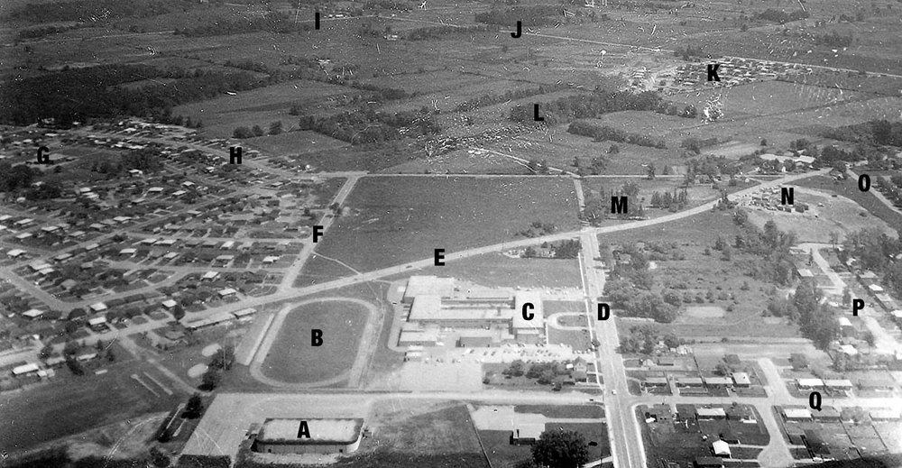 Aerial Photo 1969  Image courtesy of the Brant Historical Society   A) North Park Arena, B) North Park Track and Field Stadium, C) North Park Collegiate & Vocational School, D) North Park Street, E) Fairview Drive, F) Hayhurst Road, G) Centennial School, H) Memorial Drive, I) Powerline Road, J) Park Road North, K) Briar Park Subdivision, L) Cameron Downs Subdivision, M) Cooper Towers apartment complex, N) St Patrick School, O) Baxter Street, P) Pusey Boulevard, Q) Waddington Street.