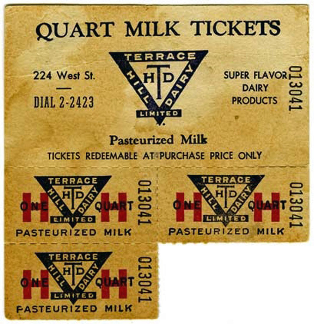 Milk tickets from the Terrace Hill Dairy. A household would buy a booklet of tickets and then place a ticket in the empty milk bottle for the milkman to redeem with a fresh quart of milk. Many homes built after WWII featured a milk shoot where empties were exchanged for full bottles along with any other milk products a household required.  Image courtesy of the Brant Historical Society