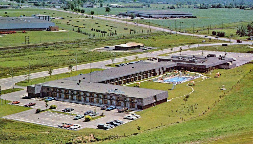 The newly built Holiday Inn on what is now Holiday Drive. Top left is the Massey-Ferguson Combine Plant and top centre is the Ladish Company of Canada factory that operated between 1953 and 1996. It is now the location of the Mabe Distribution Centre and The Expositor.  Image courtesy of the Brant Historical Society