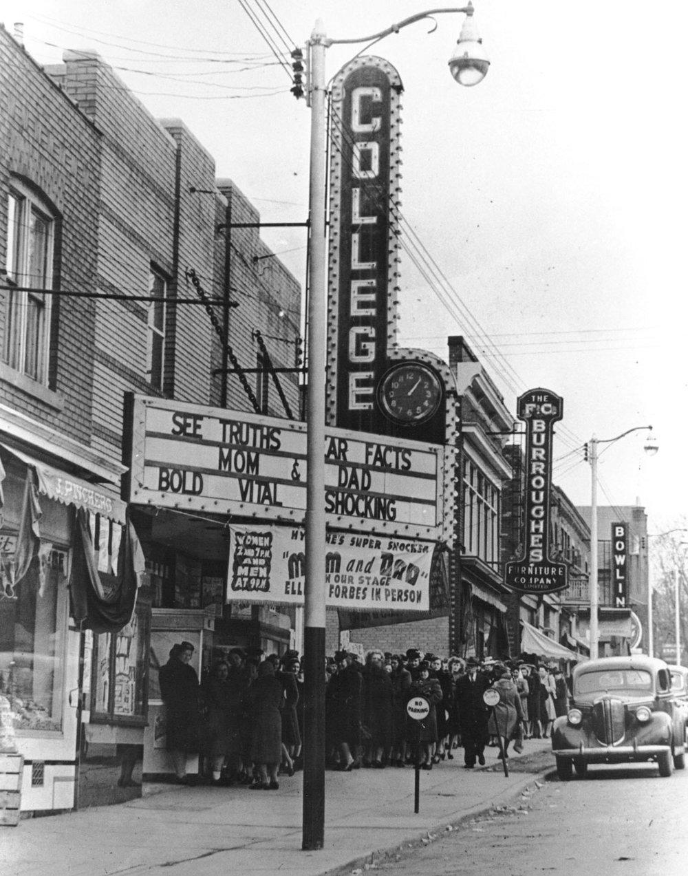 College Theatre at 310 Colborne Street, with seating for 550 people, opened on 6-April-1939 The theatre closed in 1963. In 1964 it became Talk of the Town Billiards.  Image courtesy of the Brant Historical Society