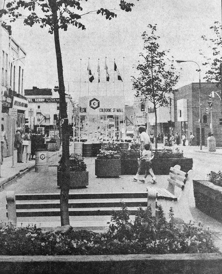 Colborne Street Mall - summer of 1974. This is east end of the mall at Market Street.