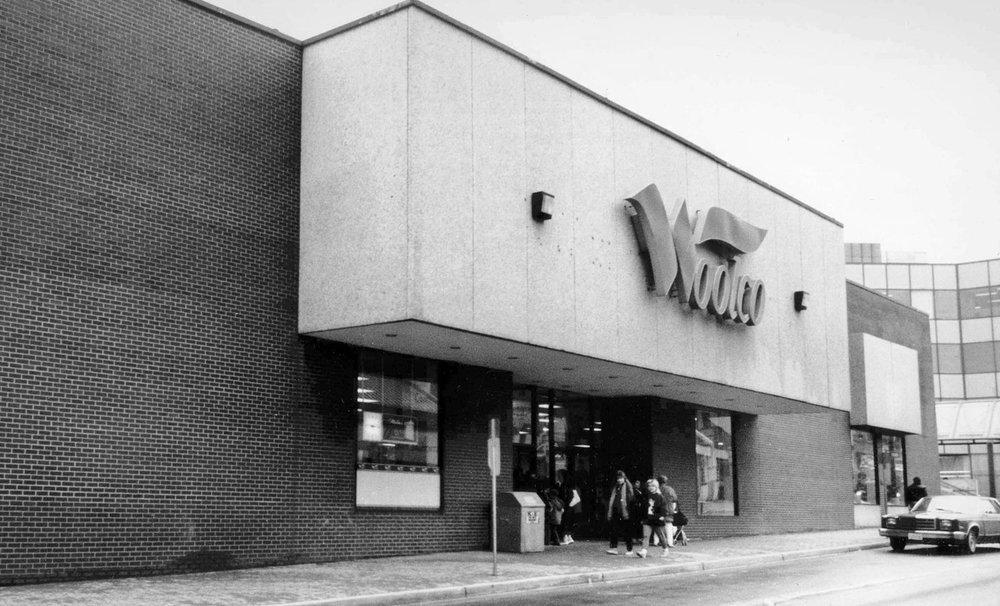 Woolco in downtown Brantford. This store was enlarged and renovated by Woolworth's in 1972 and rebranded Woolco in 1977. The building is now the home of the Brantford Public Library.  Image courtesy of the Brant Historical Society