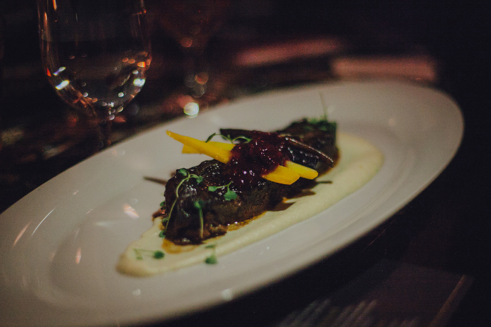 German noble hops braised short rib with celeriac puree, dragon carrots and blackberry chutney.