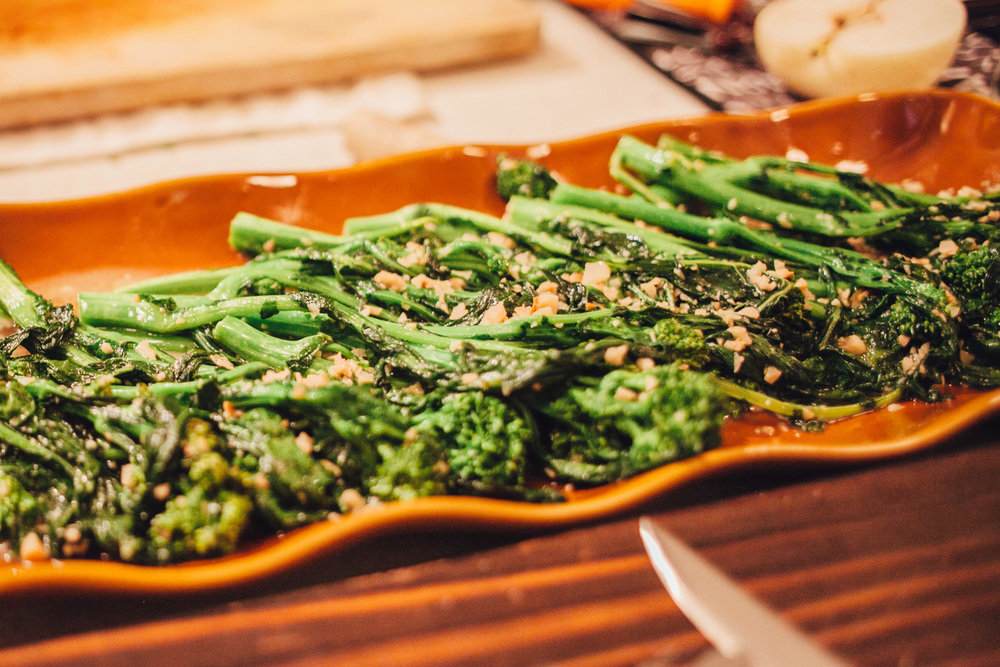 Sauteed broccolini with white wine and garlic.