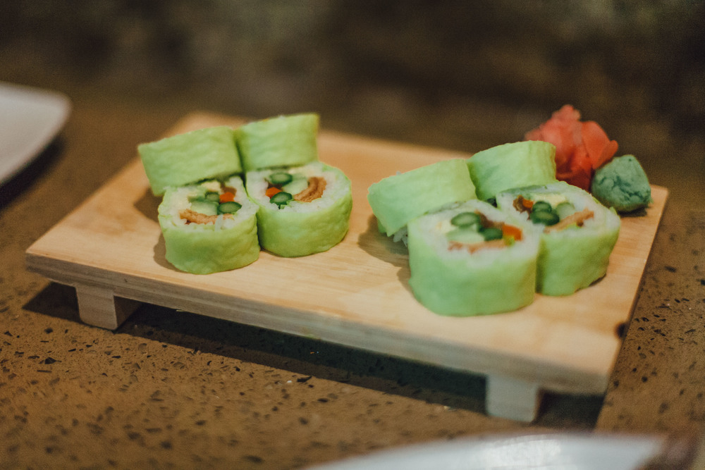 Vegetarian Roll: Kanpyo (dried calabash shavings), pickled burdock, asparagus, cucumber and avocado, wrapped in soy paper.