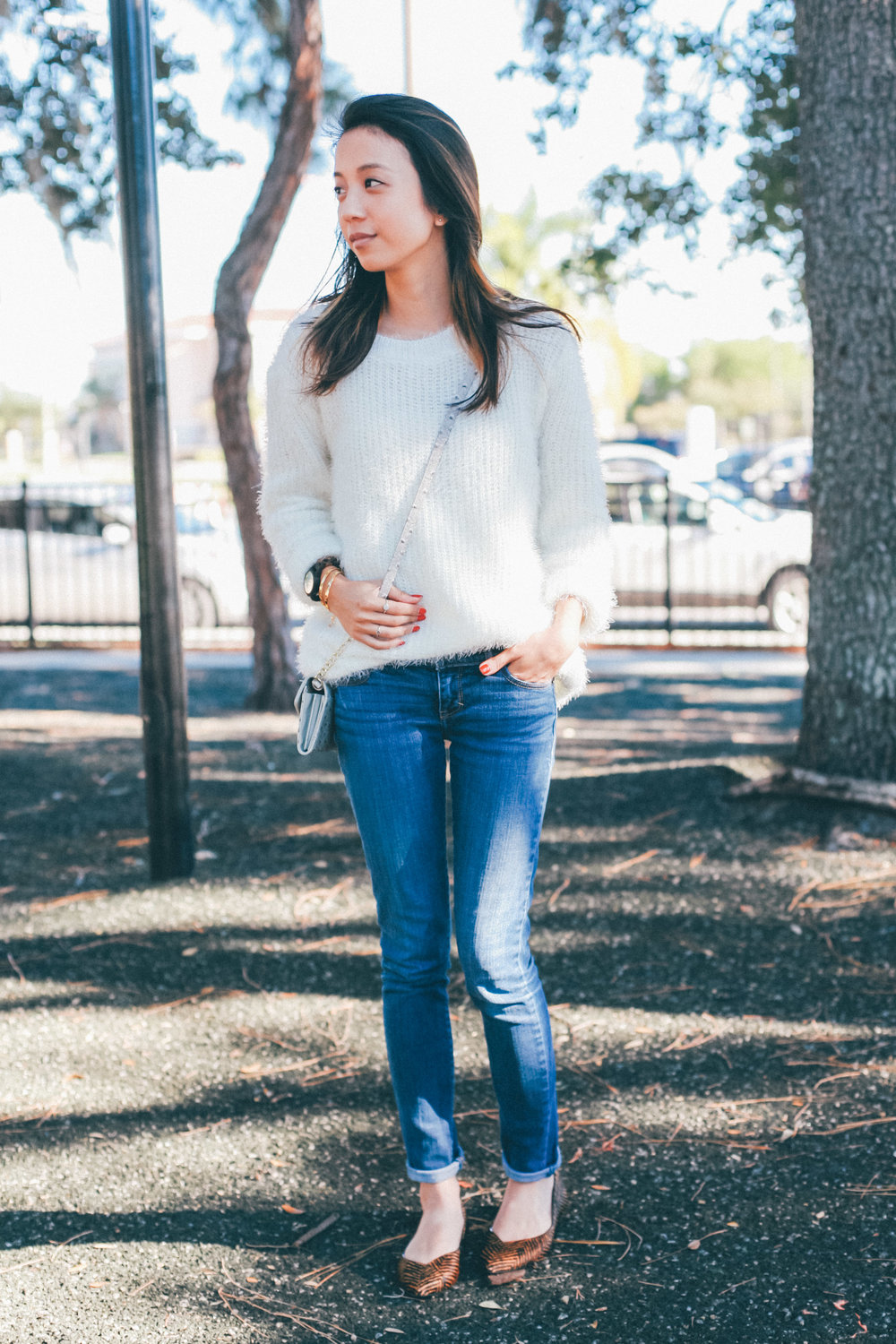 This Jenn Girl - Fuzzy White Sweater 1
