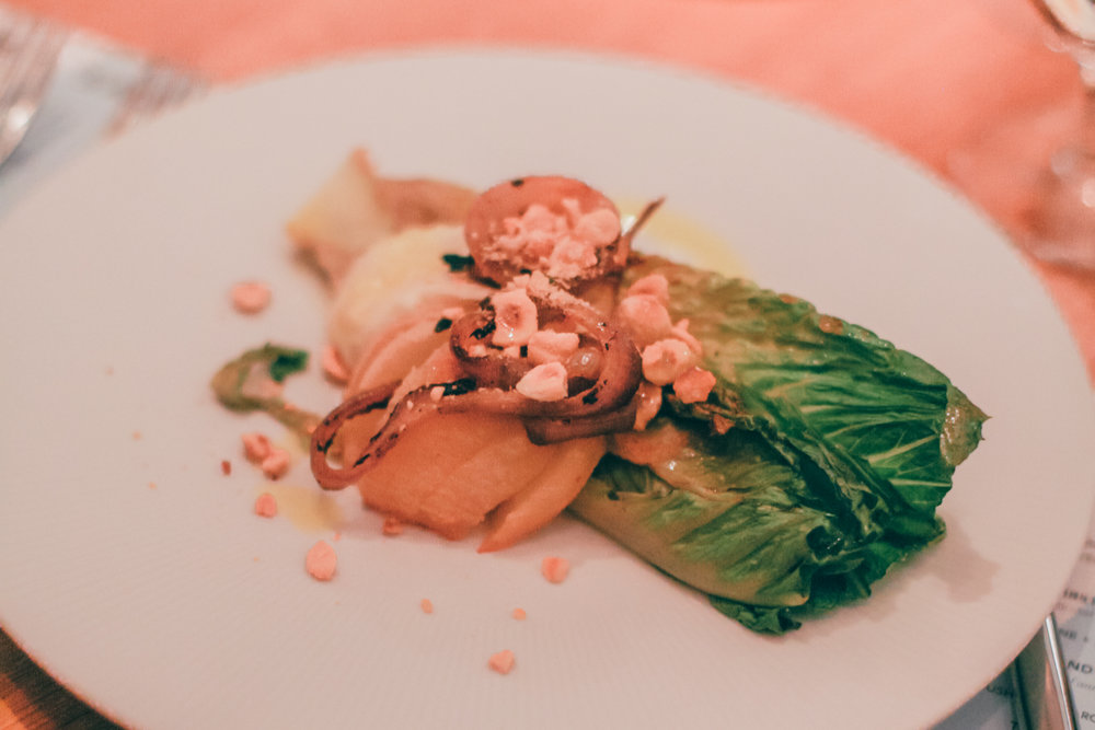 First Course, by Chef Anne Burrell: Wilted Romaine & Roasted Pear Salad