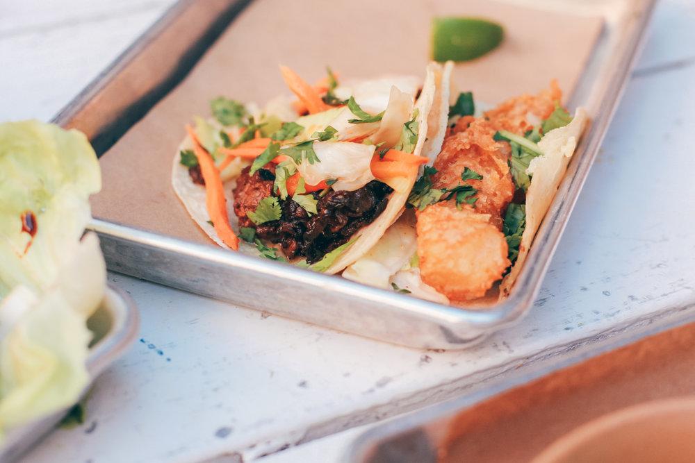 Sesame Ribeye Taco and Baja Fish Taco